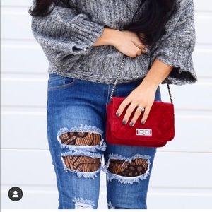 Handbags - Velvet Dark Red Purse